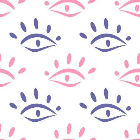 Simple seamless pattern with repeating eye drawn by hand. Cute vector illustration.