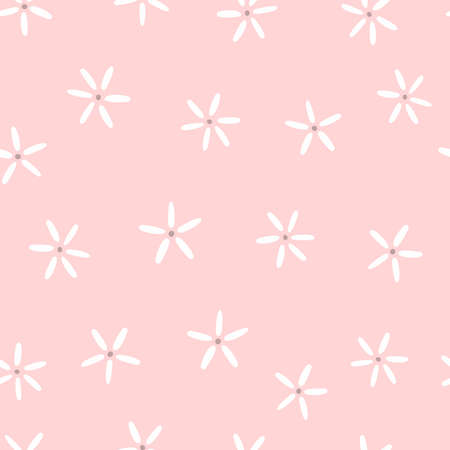 Simple seamless pattern with flowers. Cute endless print. Girly vector illustration. Иллюстрация