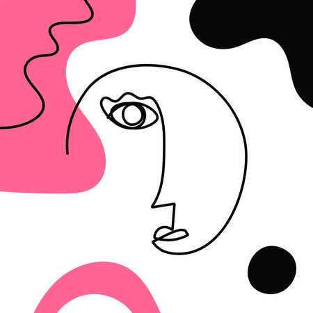 Sketch of human face drawn by hand with a continuous line. Modern abstract background. Stylish vector illustration.