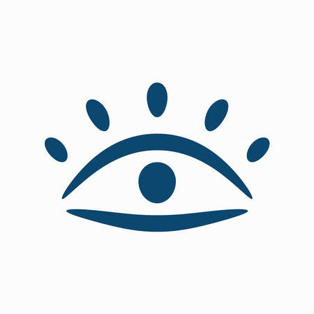 Abstract eye with eyelashes drawn by hand. Isolated icon, symbol, emblem. Simple vector illustration. Иллюстрация