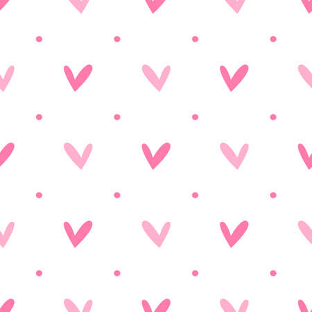 Seamless pattern with repeating hearts and polka dots. Cute print. Simple vector illustration.