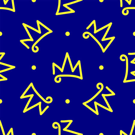 Seamless pattern with polka dots and repeating crown drawn by hand. Doodle, sketch. Simple vector illustration. Иллюстрация
