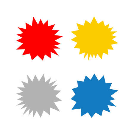Set of isolated flat starbursts. Colored vector illustrations.