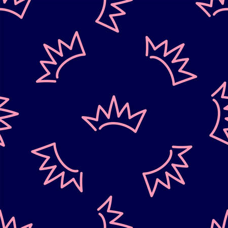 Simple seamless pattern with repeating crown drawn by hand. Doodle, sketch. Cute vector illustration. Иллюстрация