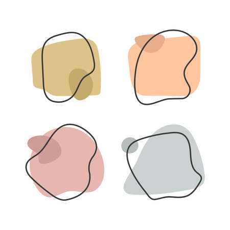 Set of isolated pastel banners with frames drawn by hand. Modern vector illustration.