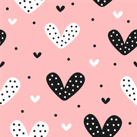 Cute seamless pattern with hearts and dots. Endless girly print. Vector illustration.