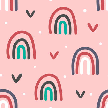 Cute seamless pattern with rainbows, hearts and dots. Drawn by hand. Vector illustration.