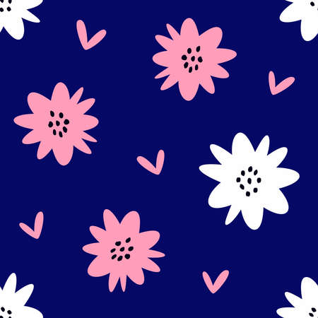 Simple seamless pattern with flowers and hearts. Cute vector illustration.