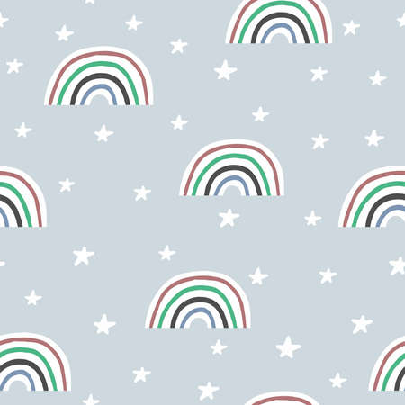 Seamless pattern with rainbows and stars. Drawn by hand. Vector illustration for children.