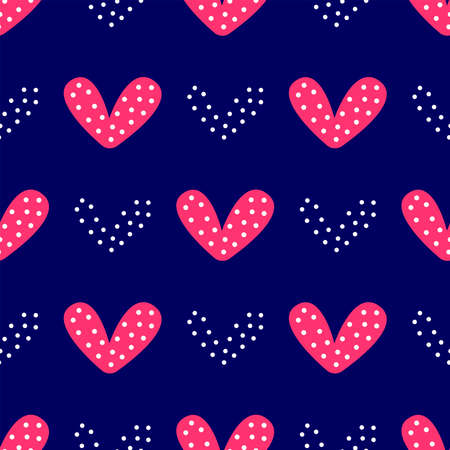 Romantic seamless pattern with hearts. Simple vector illustration.