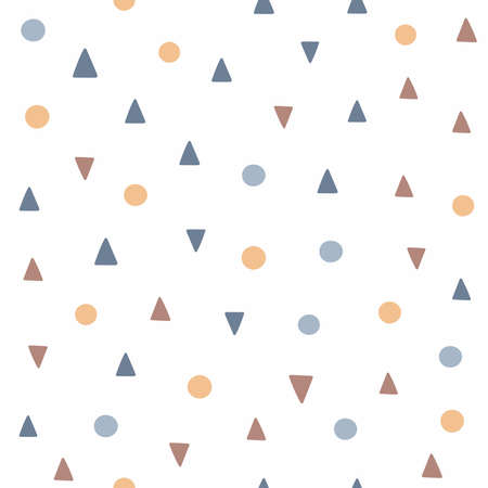 Simple seamless pattern with repeating small circles and triangles. Vector illustration.