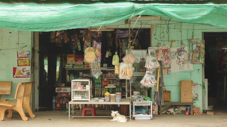 Frontstore of Traditional Grocery Store in the Countryside of Vietnam