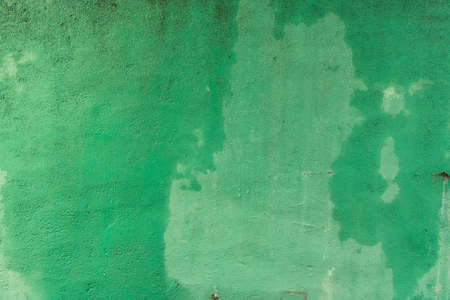 Grunge Painted Concrete Texture - Vintage Wet Green Wall. Outdoor