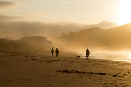 ocean waves: A group of people trek along the wet shore at dusk. Stock Photo