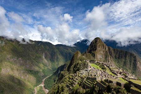 View of Machu Picchu, classic view, Urubamba river, Peru.
