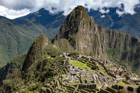 View of Machu Picchu, classic view, Peru. Horizontal orientation.
