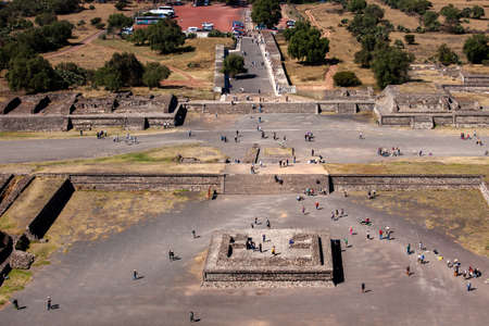 2019-11-25 Teotihuacan, Mexico. Foot of the pyramid of the sun. Editorial