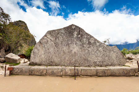 The sacred stone of the Rock Sagrada, Machu Picchu, Peru.