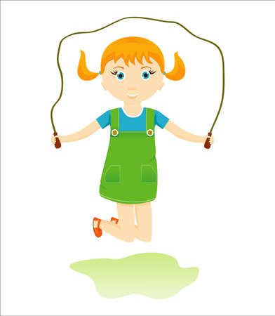 pigtails: Little girl with red pigtails skipping rope