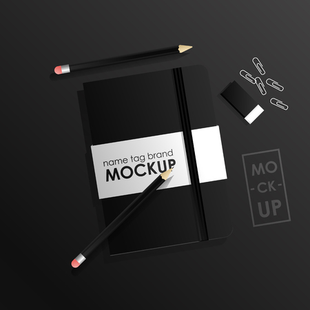 Corporate identity design template set. Mock-up package notebook and pecil. Vector concept realistic