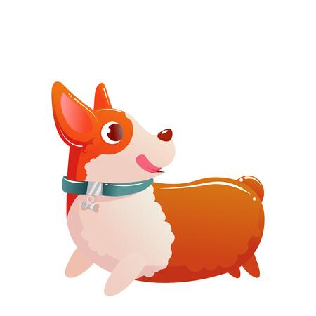 Happy cute dog corgi running on white. Illustration