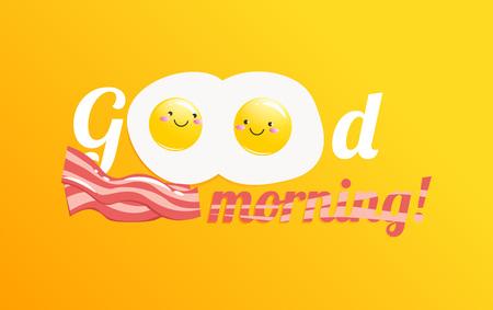 Good morning banner. Classic tasty breakfast of scrambled eggs and bacon vector cartoon illustration.