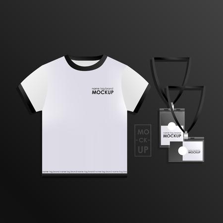 Corporate identity design template set. Mock-up uniform vector realistic concept.