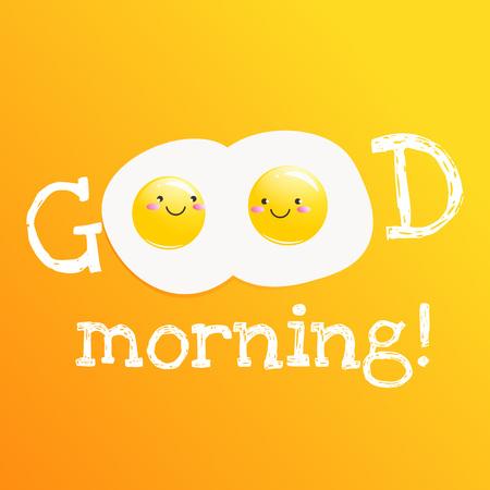 Good morning banner. Classic tasty  breakfast of scrambled eggs and bacon. Vector cartoon illustration