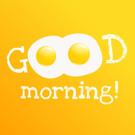Good morning banner. Classic tasty breakfast of scrambled eggs vector cartoon illustration.