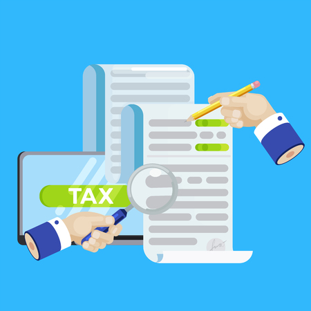 The tax form banner. Investigation of accounts. Date of payment of debt. Vector flat banner