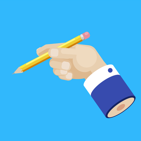Hand of a businessman with a pencil concept. Develop an idea. Copywriting. Vector flat illustration
