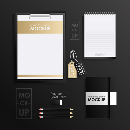 Corporate identity design template set. Mock-up package, tablet, phone, price tag, cup, notebook. Vector concept