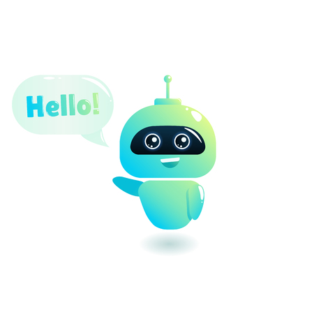 Cute bot say users Hello. Chatbot greets. Online consultation.  cartoon illustration