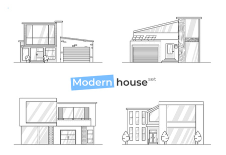 Modern stylish houses in line art icons. Design concept at home with texture bricks and  wood and tiles. Vector flat illustration