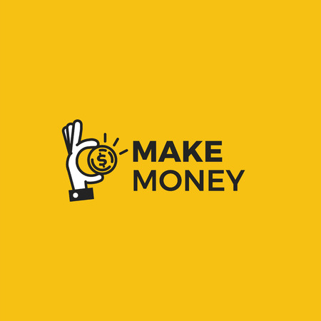 Make money logo. Gold dollar coin with hands businessman. Vector line art cartoon illustration