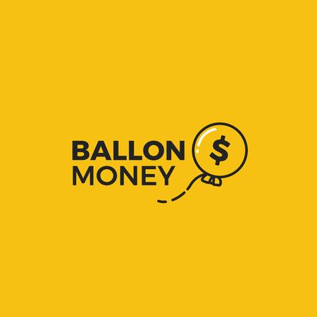 Ballon money logo. Gold ball in sky with dollar sign. Vector line art illustration Ilustração