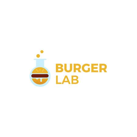 Burger Lab logo. Laboratory of delicious food. Logotype for restaurant or cafe. Vector line art illustration