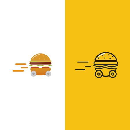 Burger delivery. Fast hamburger car. Logotype for restaurant or cafe . Vector illustration