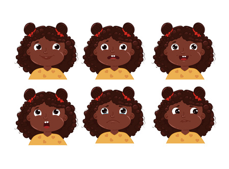 Little girl with black skin character emotion sticker set. Child face is sad and happy and frightened. Vector cartoon illustration Illustration