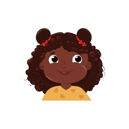 Little dark skinned girl cute smiling. Happy emotion African American child face. Vector cartoon illustration