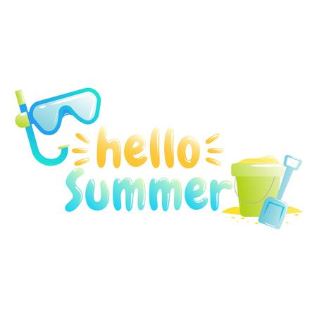 Hello summer. Banner of sale in online store. Special offer, shop now. Vector cartoon illustration Illustration