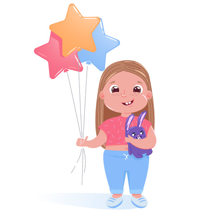 Little cute girl celebrates happy birthday party with toy bunny and colorful balloons. Vector cartoon illustration