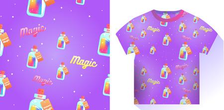 The magic mana of a unicorn seamless pattern. Rainbow liquid with star in the bottle. Vector cartoon illustration Illustration