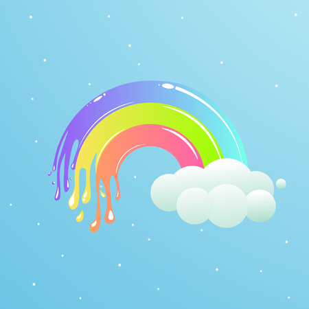 A nice rainbow with clouds against the sky with stars. Cute vector cartoon illustration