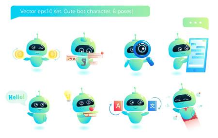 Cute bot character set. Chatbot greets. Online consultation. Vector cartoon illustration Illustration