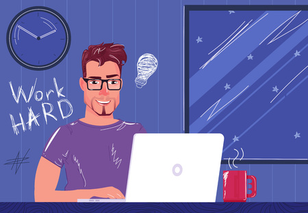 A freelancer works hard at night for a laptop. A man sitting at home drinking coffee at a computer. Hurries to the deadline. Vector cartoon illustration