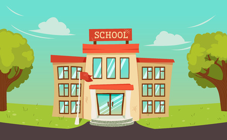 Junior high School building landscape. Background with sky and trees and road. Kindergarten for kids schoolchildren. Vector cartoon illustration Ilustracja