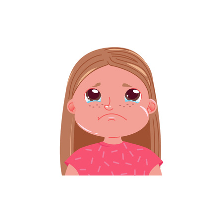Little cute girl is crying. Sad emotion child with tears in his eyes. Vector cartoon illustration