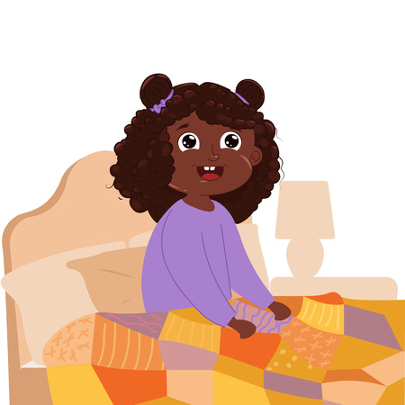 Baby girl wake up early in the morning in the bedroom in your bed. Vector cartoon illustration