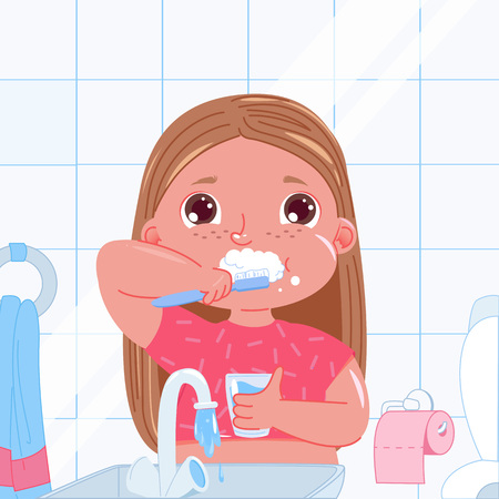 Cute baby girl brushing her teeth in the morning. Daily routine. Dental hygiene. Vector cartoon illustration